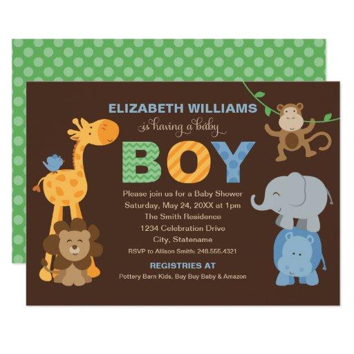 Baby Shower Invitation | Jungle Animals for Boy
