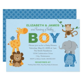 Baby Shower Invitation | Jungle Animals For Boy by Plush_Paper at Zazzle