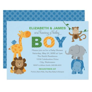 Toddler & Baby themed Baby Shower Invitation | Jungle Animals for Boy
