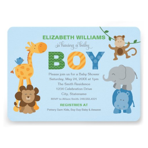 baby shower invitation jungle animals for boy 5 x 7 invitation