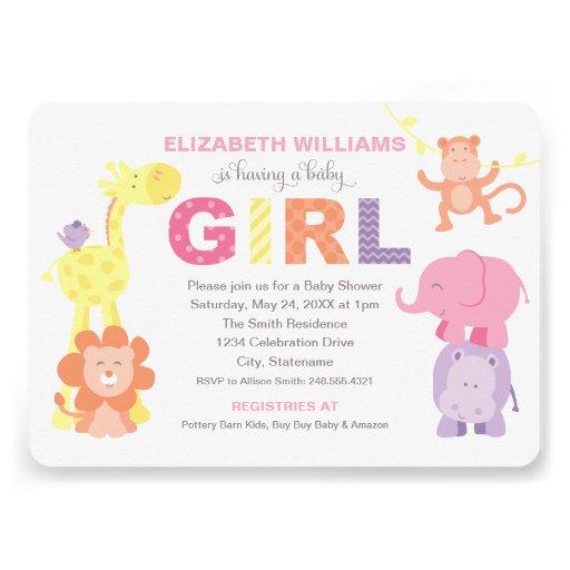 Baby Shower Invitation | Jungle Animals for Girl