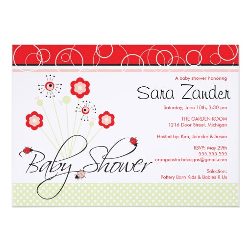 Baby Shower Invitation - Ladybugs