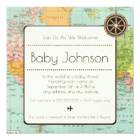 Travel theme invitations announcements zazzle baby shower invitation map theme filmwisefo