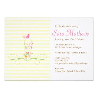 "Baby Shower Invitation - Monogram Bird and Floral 5"" X 7"" Invitation Card"