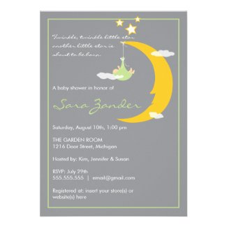 Baby Shower Invitation Moon and Stars