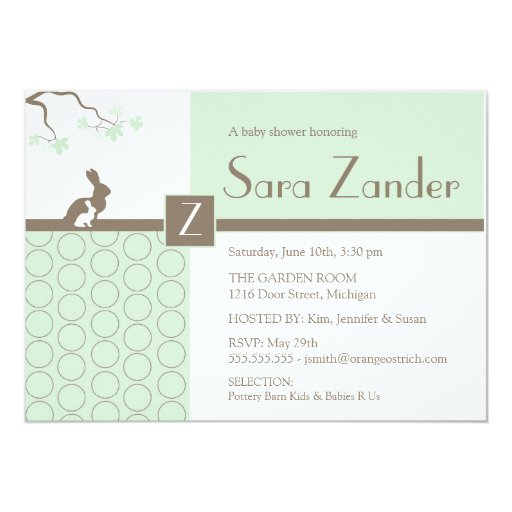 "Baby Shower Invitation - Mother and Baby Bunny 5"" X 7"" Invitation Card"