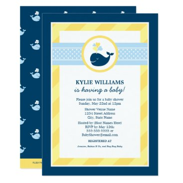 Toddler & Baby themed Baby Shower Invitation   Nautical Preppy Whale