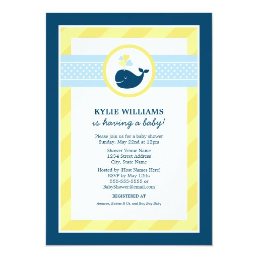 baby shower invitation nautical preppy whale 5 x 7