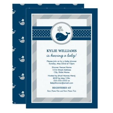 Toddler & Baby themed Baby Shower Invitation | Nautical Preppy Whale