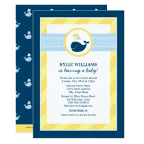Baby Shower Invitation   Navy Blue Nautical Whale