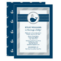 Baby Shower Invitation | Navy Blue Nautical Whale