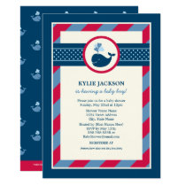 Baby Shower Invitation   Navy & Red Nautical Whale
