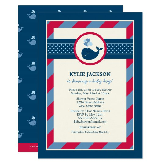 Baby Shower Invitation | Navy & Red Nautical Whale