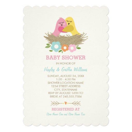 baby shower invitation nesting birds theme