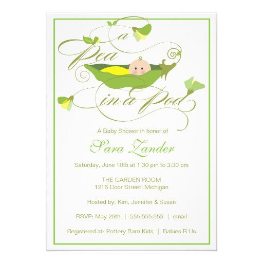 baby shower invitation neutral pea in a pod
