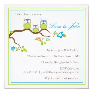 "Baby Shower Invitation - Owl Family 5.25"" Square Invitation Card"