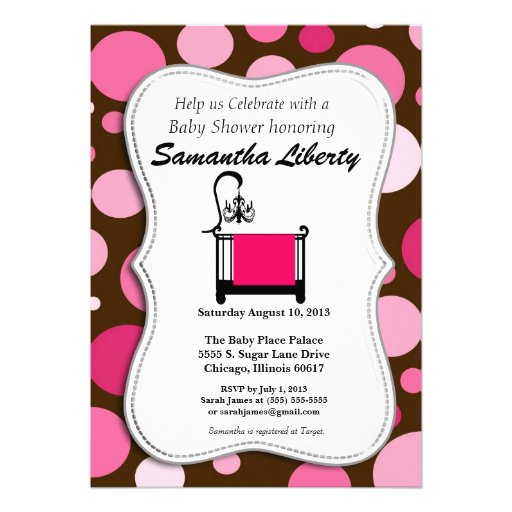 baby shower invitation pink and brown 5 x 7 invitation card zazzle