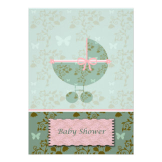 Baby Shower Invitation Pink and Green Floral