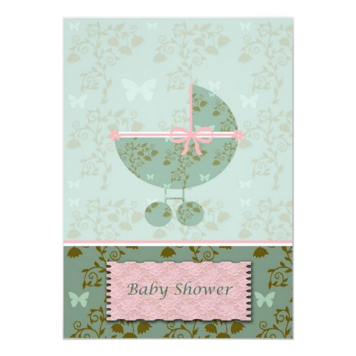 baby shower invitation pink and green floral zazzle