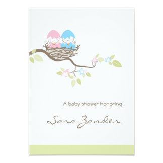 Baby Shower Invitation - Pink & Blue Twin Birds
