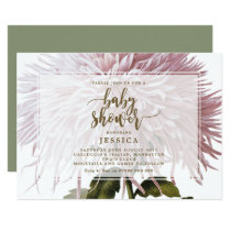 Baby Shower invitation pink botanical floral