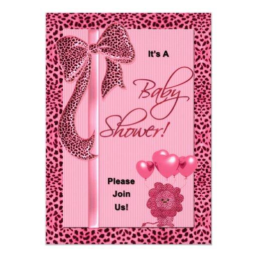 Baby Shower Invitation Pink Cheetah Print