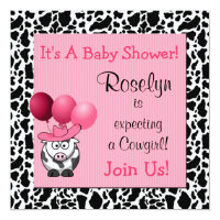 Cowgirl Baby Shower Party Invitations