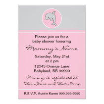 "Baby Shower Invitation. Pink Dolphin. 5"" x 7"" Invitation"