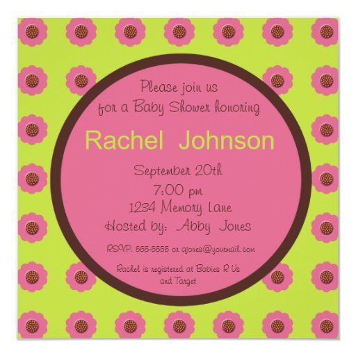 Baby Shower Invitation - Pink, Green, Brown