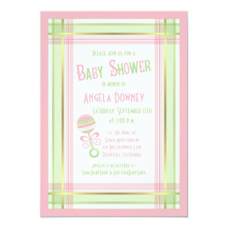 Baby Shower Invitation Pink Green Plaid Rattle