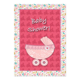 Baby Shower Invitation Pink Personalized