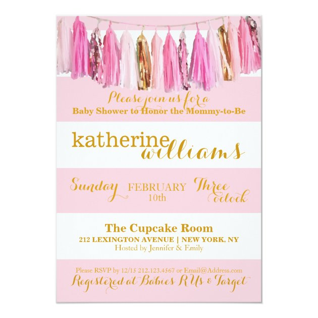 Baby Shower Invitation Pink Tassel Garland Stripes Zazzle Com