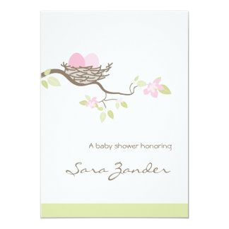 Baby Shower Invitation - Pink Twin Eggs in Nest