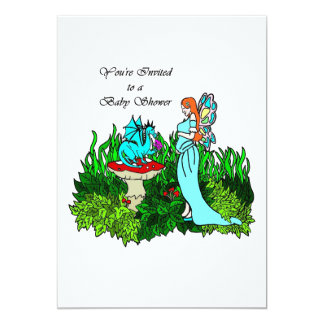 Baby Shower Invitation Pregnant Faerie and Dragon