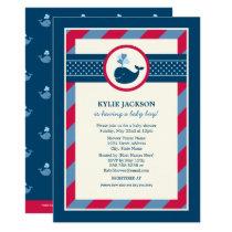 Baby Shower Invitation | Preppy Whale Pattern