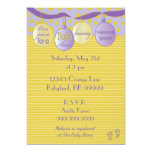 Baby Shower Invitation. Purple/Gold, Dots/Stripes Card