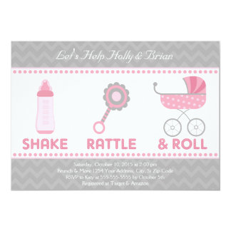Baby Shower Invitation - Shake, Rattle & Roll
