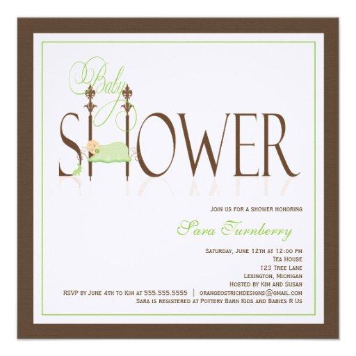 Baby Shower Invitation - Sleeping Baby