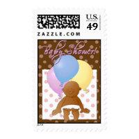 Baby shower invitation stamp.