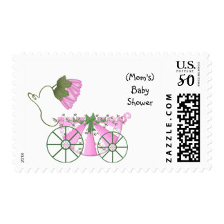Baby Shower Invitation Stamp-Cute Pink Bathtub Postage