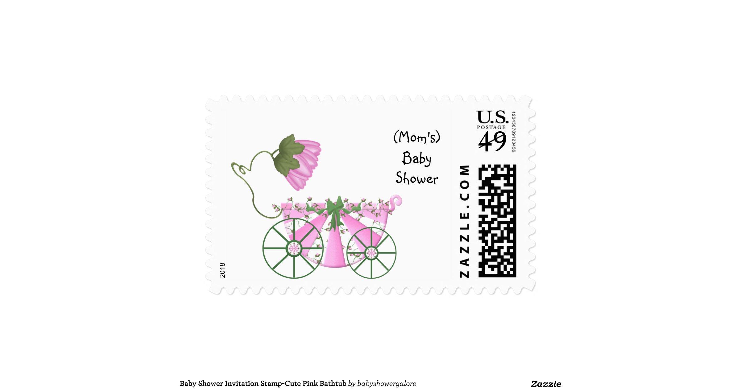 baby shower invitation stamp cute pink bathtub postage stamps
