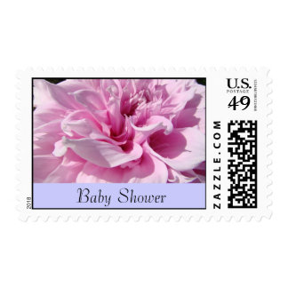 Baby Shower Invitation stamps Pink Dahlia Flowers