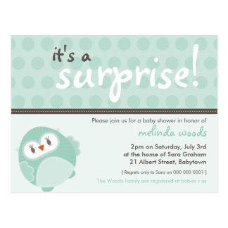 BABY SHOWER INVITATION :: Surprise Owl 3 Postcard