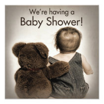 Baby Shower Invitation - Teddy Bear and Baby