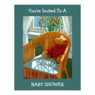 BABY SHOWER INVITATION: TEDDY BEAR Painting: ART Card