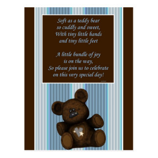 baby shower invitation teddy bear wtih poem boy postcard