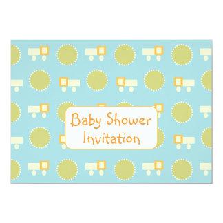 Baby Shower Invitation Toy Trucks Green Dots