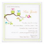 "Baby Shower Invitation - Twin Boy & Girl Baby Owls 5.25"" Square Invitation Card"
