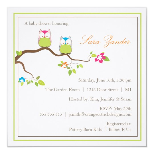 Baby Shower Invitation - Twin Boy & Girl Baby Owls