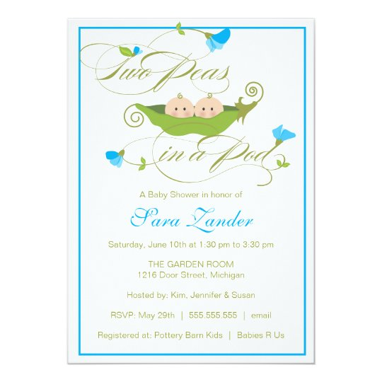 Baby Shower Invitation Twin Boys Pea In A Pod Zazzle Com